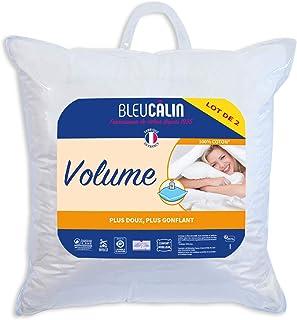 Bleu Câlin Lot de 2 Oreillers Volume Blancs, 60x60cm, ODTI