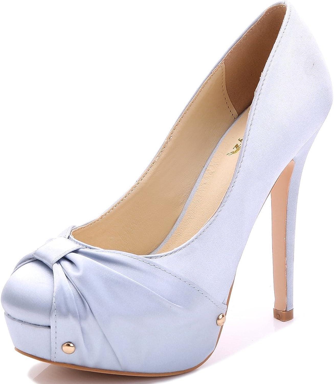 YooPrettyz Round Toe Satin Wedding shoes Platform High Heels Crepe Design Five Inch Stiletto shoes