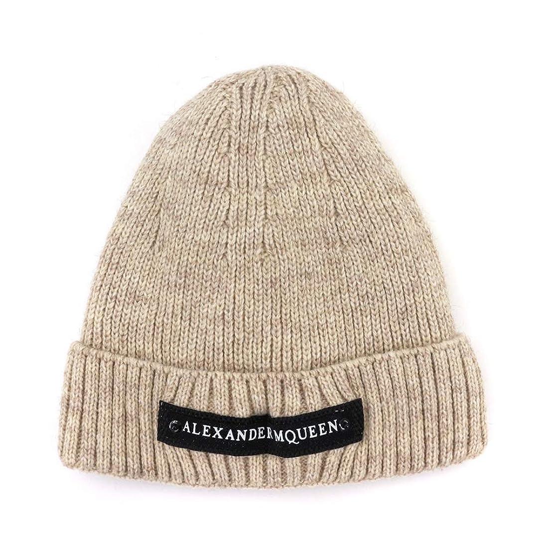 概して座標サイバースペースAiHua Huang 秋と冬の新しいAliExpressのウールの帽子の女性プラス厚いビロードのニット帽暖かいシンプルなヘッドキャップMXM095 (Color : Beige, Size : M56-58cm)