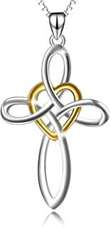 YFN Celtic Knot Cross Necklace Sterling Silver Infinity Love Heart Pendant Necklace