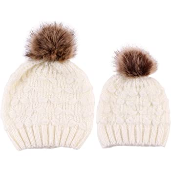 2PCS Parent-Child Hat, Mother Child Daughter Son Baby Winter Warm Soft Knit Hat Family Crochet Beanie Ski Cap with Pom Pom