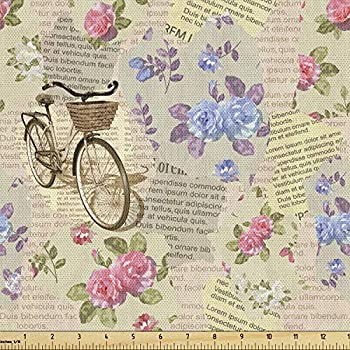 Lunarable Old Newspaper Fabric by The Yard Torn Newspaper Pieces with Bicycles and Romantic Vintage Style Roses Print Decorative Fabric for Upholstery and Home Accents 3 Yards Beige