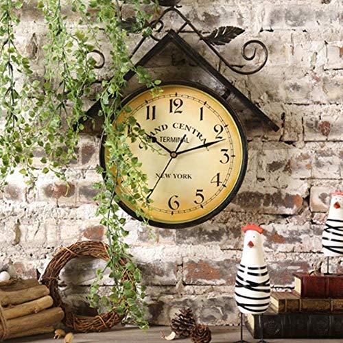 LUNAH Outdoor Garten Wanduhr, Vintage Schmiedeeisen Kunst Vogelhaus Design Gartenuhren Outdoor wasserdicht Indoor Outdoor Dekoration Außenuhr Outdoor Wanduhr Metall 41cm