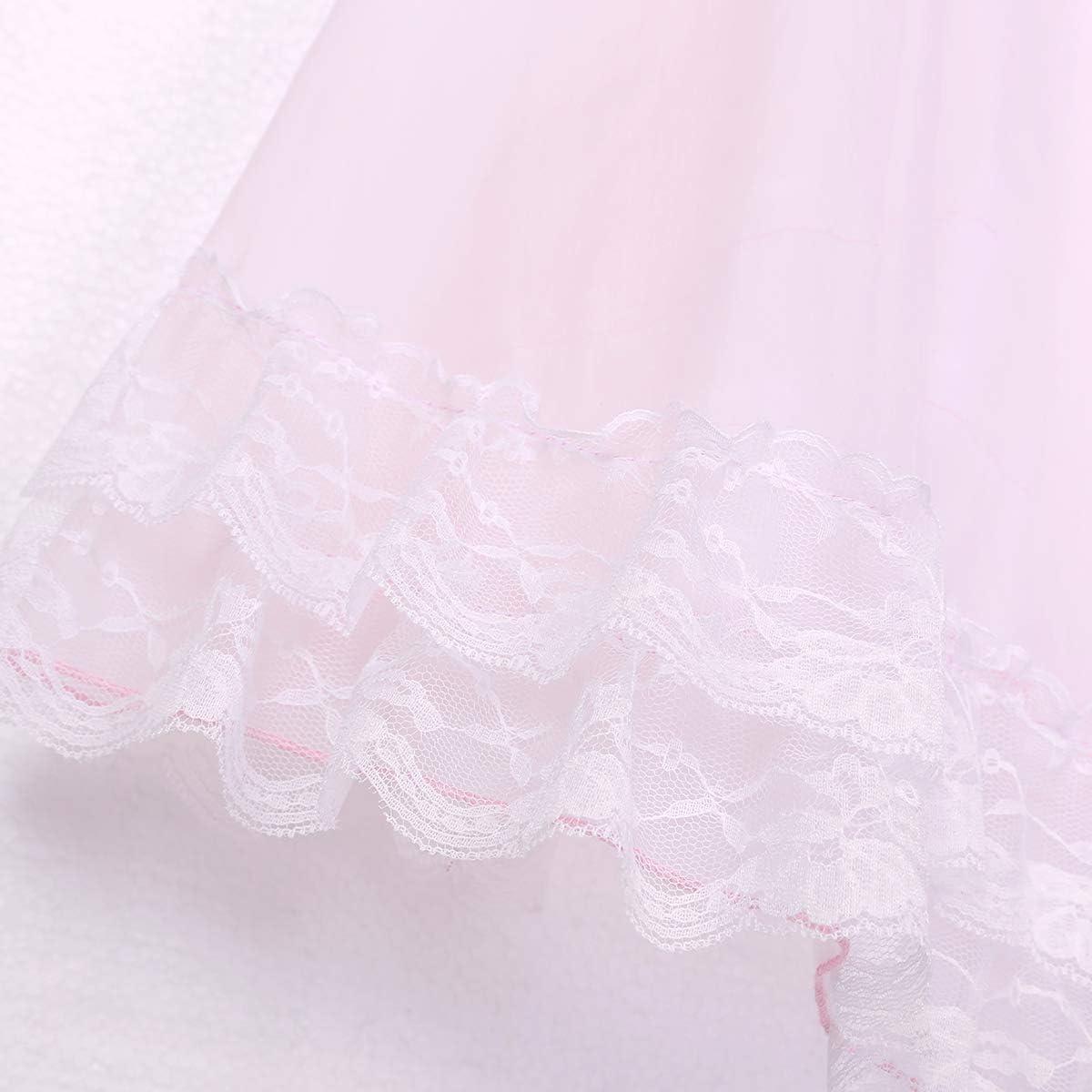 TiaoBug Herren Sissy Dessous Unterhemd in Rosa Spagettitr/äger Tank Top Gay Dessous Nachthemd transparent erotische Spitzen Unterw/äsche