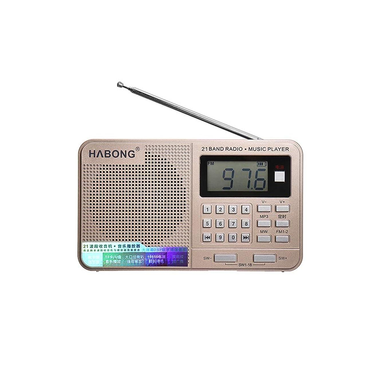 隣接する敬意を表して狂った携帯ラジオ FMラジオUSBカードスピーカーTFカードMP3プレーヤー高齢者用 操作が簡単 (Color : Gold)