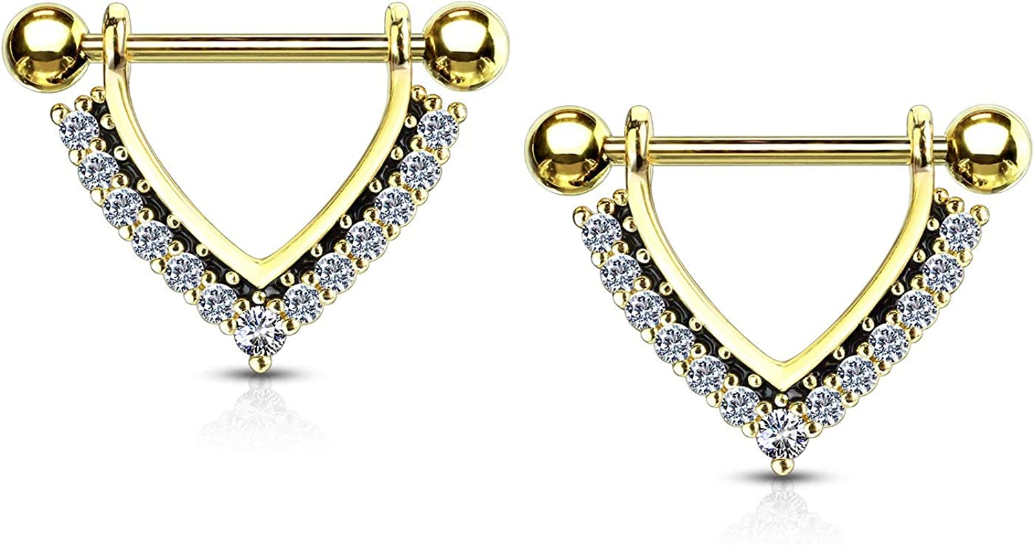 Forbidden Body Jewelry Pair of Surgical Steel 9/16 Inch (14mm) CZ Lined Black Accent Sexy Dangle Nipple Rings