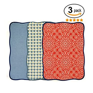 Bear Family 15x20' Florals Printing Microfiber Dish Drying Mat Best for Home & Kitchen - Pack of 3