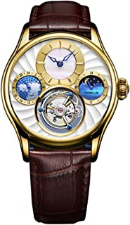 Aesop Men Mechanical Hand-Wind Real Tourbillon Business Dress Moon Phase Luminous Wrist Watch Leather Strap Gold White Brown