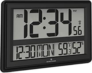 Marathon CL030056BK Jumbo Atomic Wall Clock with Date, Indoor Temperature and Humidity-Batteries Included. Color-Black