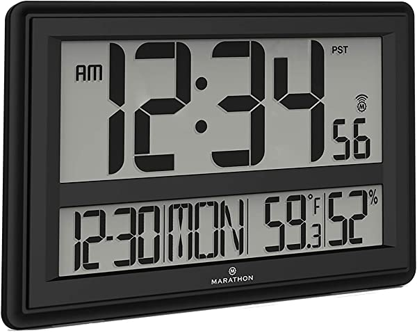Marathon CL030056BK Jumbo Atomic Wall Clock With Date Indoor Temperature And Humidity Batteries Included Color Black