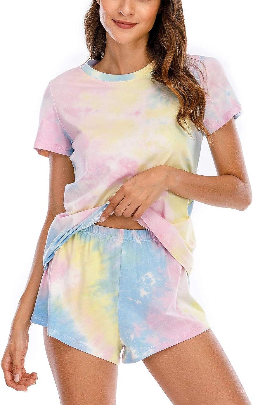 WLLWOO Womens Tie Dye Printed Pajamas Set Short Sleeve 2 Piece Sleepwear Pj Sets