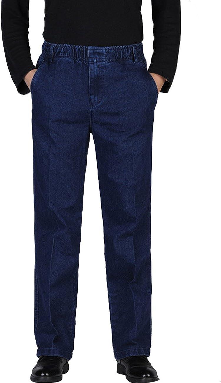 Zoulee Men's Wholesale Full Elastic Waist Denim Tro Jeans shipfree On Pull Straight