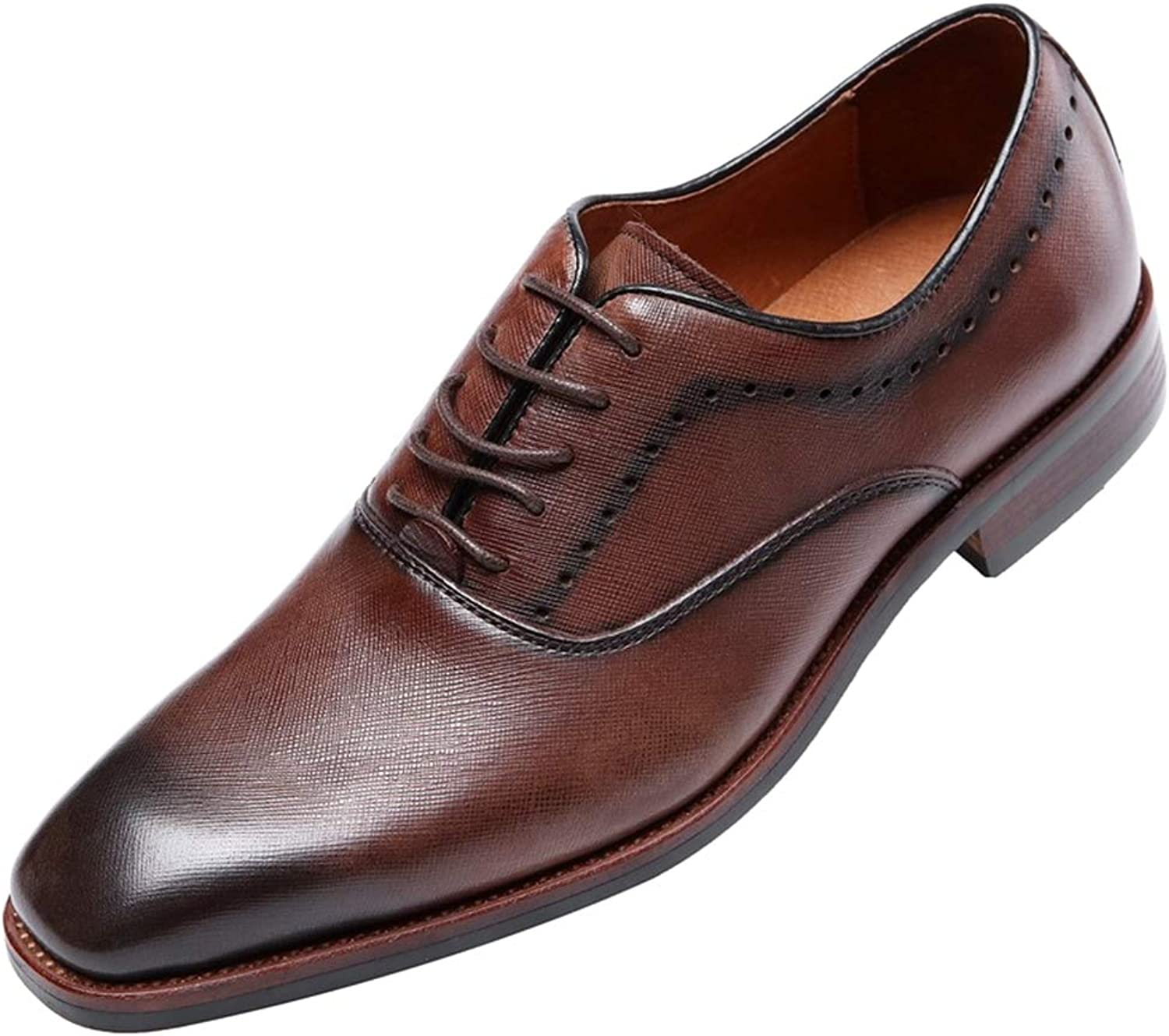3085d18054c06 Mens Leather shoes Lace-Up Business Oxford Pointed Toe Toe Toe Prom ...