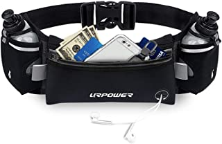 URPOWER Upgraded Running Belt with Water Bottle, Running Fanny Pack with Adjustable Straps, Large Pocket Waist Bag Phone H...
