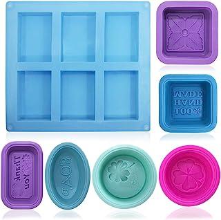 comprar comparacion FineGood - Moldes de silicona para hacer jabón (13 unidades), color azul, rojo, morado y verde