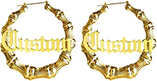 Custom Name Bamboo Hoop Earrings Personalized - Customized Name Statement Hip-Hop Earrings for Women Lady Girl Jewelry