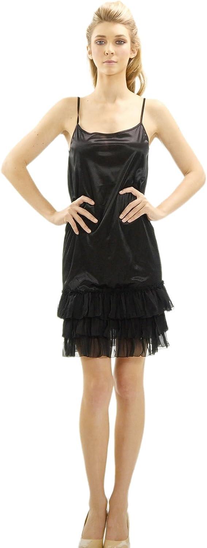 Melody Women's free shipping Satin Max 57% OFF Full Slip Three Layered Sheer Ruffles with