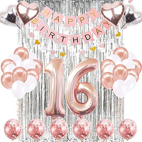 JOTOM 16 Geburtstag Dekoration 16. Geburtstag Luftballons Happy Birthday Banner Party Luftballons Zum Hochzeitstag Party Deko Frauen Rosa Silver Latex Foilen Ballons (16 Geburtstag)