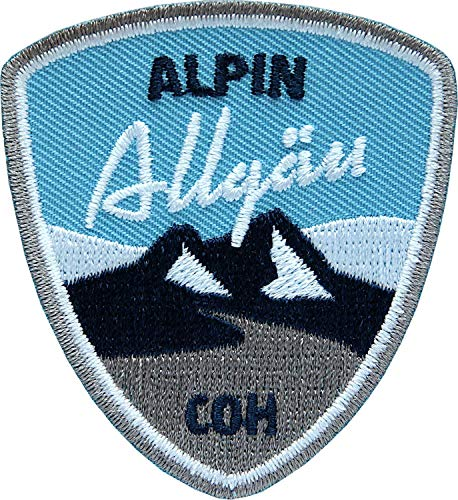 2 x Stick Abzeichen 55 x 60 mm blau / Allgäu Alpin, Allgäuer Alpen / Aufnäher für Outdoor Mode Sport / Aufbügler Sticker Flicken Applikation Wappen / Wandern Ski Snowboard Wintersport Winter Tour