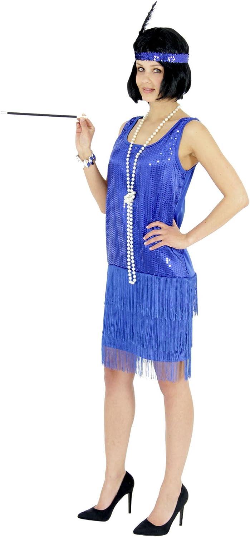 FOXXEO Robe Noire Or 20s avec Franges pour Dames /él/égant Costume Charleston pour Carnaval Taille S