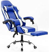 Cadeira Gamer Giratória Com Apoio de Pé Kelter Azul e Branca V7006p