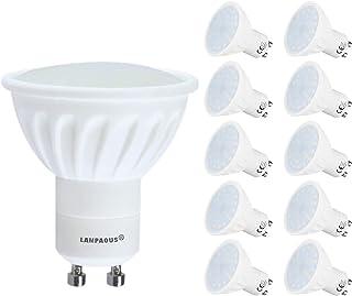 Lampaous Pack de 10 bombillas LED GU10, 5 W, intensidad regulable, GU10, 450 lm, repuesto para bombilla halógena de 35 a 4...