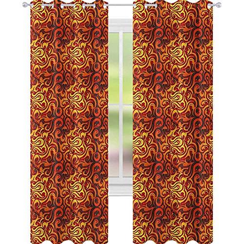 YUAZHOQI Cortinas opacas abstractas con patrón floral surrealista con espirales curvas, diseño follaje con colores cálidos para puerta de cristal 52 x 63 pulgadas, amarillo, naranja y negro