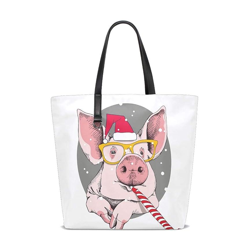 純粋な多くの危険がある状況森トートバッグ かばん ポリエステル+レザー ブタ 豚柄 新年 両面使える 大容量 通勤通学 メンズ レディース