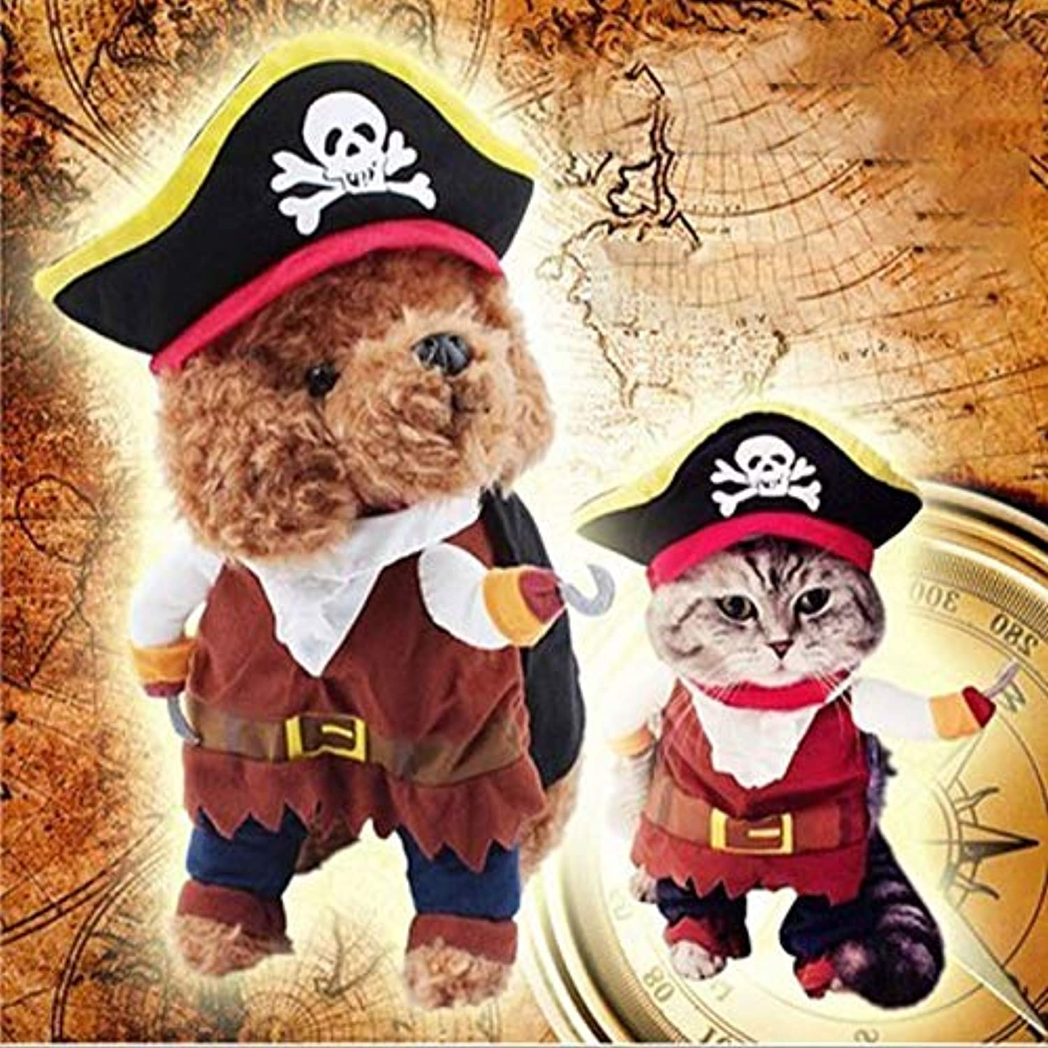 LAYYY Pet Cat Dog Clothes,Hat Pirate Costume,Dress Pirate,Cat and Dog Universal,Personality Party Role Playing Clothes (Size   M)