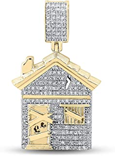 FB جواهر الذهب الأصفر 10kt رجل جولة الماس مصيدة سحر قلادة 3/4 Cttw