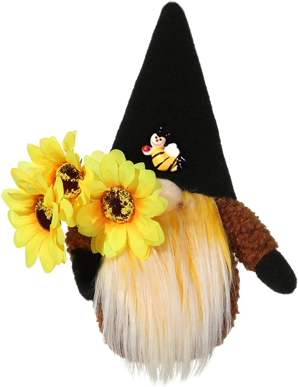 Sunflower Bee Gnomes, Faceless Plush Elf Decoration with Sunflower Hat & Bee, Spring Summer Honeybee Dwarf Figurine Ornaments for Holiday Party Bee Festival Home Decorations