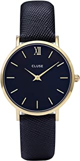 CLUSE Minuit Gold Midnight Blue CL30014 Women's Watch 33mm Leather Strap Minimalistic Design Casual Dress Japanese Quartz Elegant Timepiece