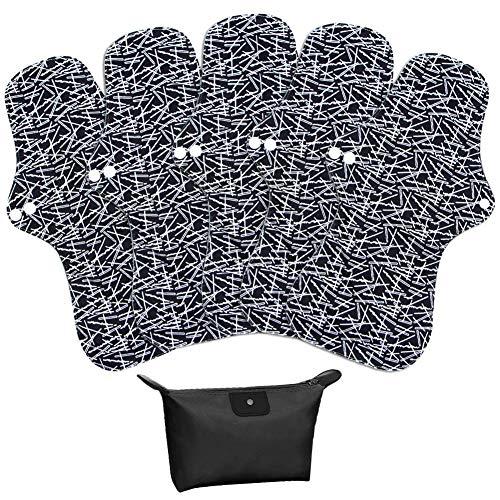 LIVEHITOP Slipeinlagen Waschbar – 5 Stück 32.5cm XL Stoffbinden Wiederverwendbare Bambuskohle Damenbinden Bio Polyester Menstruation Nacht Lang Schwer für Frauen mit Tasche Schwarz