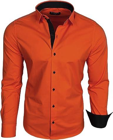 Baxboy B-500 - Camisa de manga larga para hombre, para negocios, tiempo libre, bodas, plancha, ajustada naranja oscuro XXXXXL