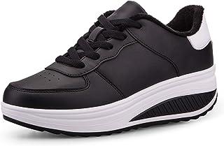 Botas De Nieve De Invierno Mujer Adelgazar Zapatos Calientes Fur Botines Sneakers Zapatos de Plataforma de Cuña de Fitness...