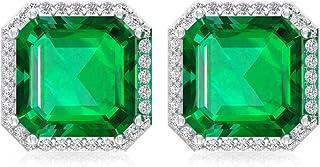 4.2Ct Lab Created Emerald Solitaire Earring, IJ-SI Diamond Stud Earring, Asscher Shape Birthstone Mother Earring, IGI Certified Diamond Bridal Earring, Screw Back