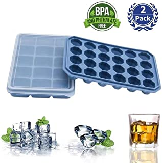 Stackable Easy-Release Ice Cube trays with Spill-Resistant Removable Lid,2 pack by Rayleigh Life.FDA Certified and BPA-free,for Whiskey& Cocktails.Durable and Dishwasher Safe