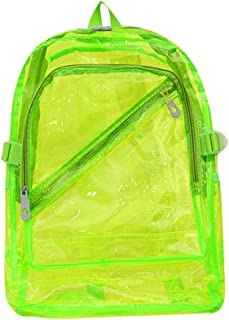 Mochila transparente Jelly Mochila de PVC transparente Mochila resistente para niñas Mochila escolar para niños aprobada por el estadio - Verde