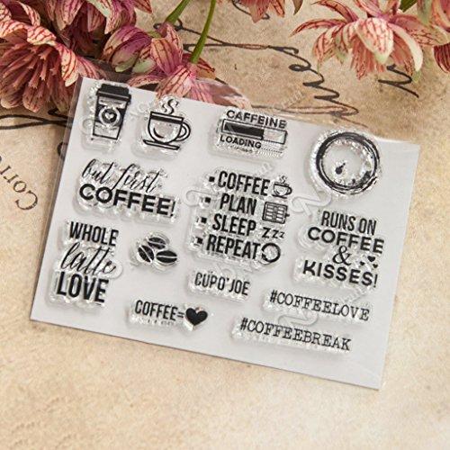 Ranuw Transparent Stempel (Kaffee) DIY Handwerk Silikon Clear Stamps Für Album Foto Sammelalbum Präge Scrapbooking