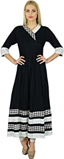 Women Black Anarkali Custom Kurti Indian Ethnic 3/4 Sleeve Cotton Kurta Blouse