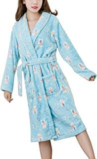 Fleece Short Robes for Women Knee Length Plush Cozy Robe Soft Comfy Warm Printed Bathrobe for Young Girls