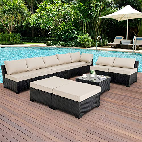 10 Piece Patio Sectional Furniture Set Outdoor PE Wicker Rattan Conversation Sofa with Khaki Cushions and Furniture Cover