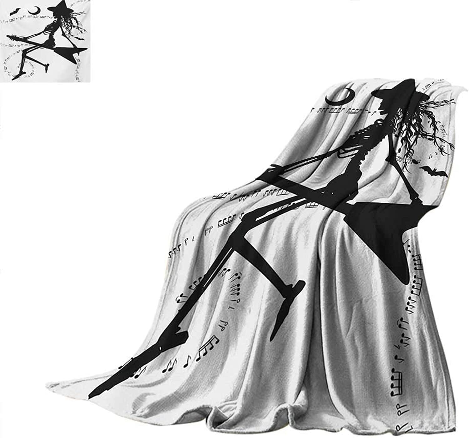 Music Weave Pattern Blanket Witch Flying on Electric Guitar Notes Bat Magical Halloween Artistic Illustration Summer Quilt Comforter 60 x50  Black White