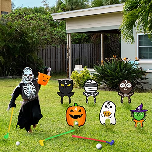Halloween Golf Game Set Kids Halloween Party Mini Golf Toy Indoor and Outdoor Games for Boys and Girls 6 Pcs Halloween Lawn Yard Signs Decorations