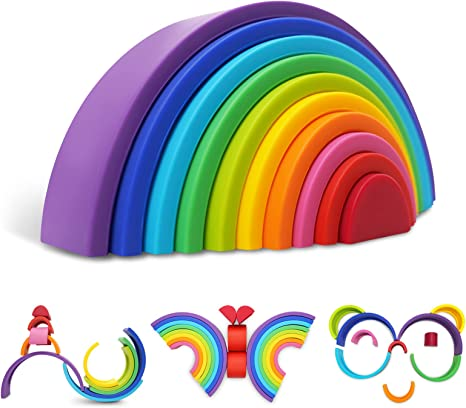 Silicone Rainbow Stacking Toys, Early Education Rainbow Stacker Montessori Toys for Baby Building Blocks Learning Puzzle Toys for Kids Gift for 1 2 3 4 5 Years Old Boys Girls(10 PCS)