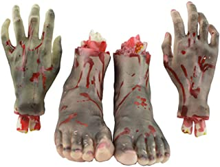 AOBOR Halloween Decoration Haunted House Scary Fake Bloody Broken Severed Hand Body Prank Party Props (2 Pieces Feet & 2 Pieces Hands)
