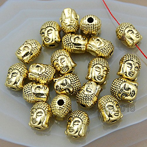 AD Beads Solid Metal Crown & Buddha Bracelet Connector Spacer Charm Beads 20 Pcs (Two Sided Buddha Head (Vintage Antique Gold))