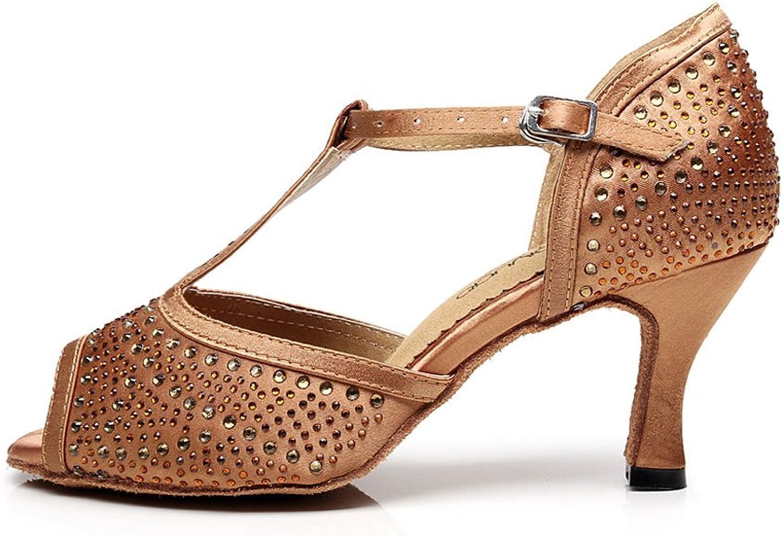 CDSO Women's Rhinestone Ballroom Dance shoes Latin Salsa Party Dance shoes Sandals 2.95 inch Heel