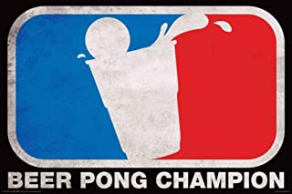 Aquarius Beer Pong Champion Poster Print, 24 by 36-Inch