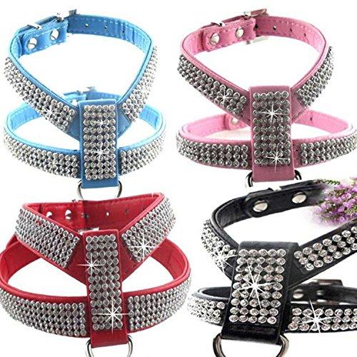 Creatwls Fashion Bling Diamant Glitzer PU Leder Kristall Halsband für Katze Hund verstellbares Hundegeschirr Brustgurt führen Pet